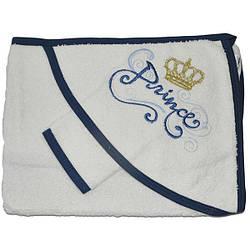 Полотенце с капюшоном для купания и варежка, махра, размер 75х80 см (мин заказ 1 ед) синий-белый