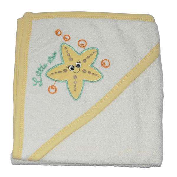"Полотенце с капюшоном для купания ""звездочка"", махра, размер 75х80 см (мин заказ 1 ед)"