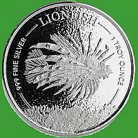 Барбадос 1 доллар 2019 г. Фауна/рыба лев(крылатка) . (серебро 999 пробы , 1 унция)