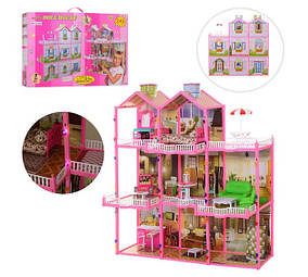 Кукольный домик 6992 трехэтажный с террасой. Мебель. Свет