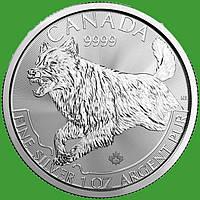 Канада 5 долларов 2018 г. Волк (серебро 999 пробы , 1 унция)