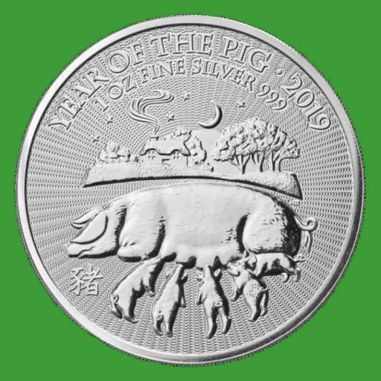 Великобритания 2 фунта 2019 г. Лунный календарь - год свиньи (серебро 999 пробы , 1 унция )