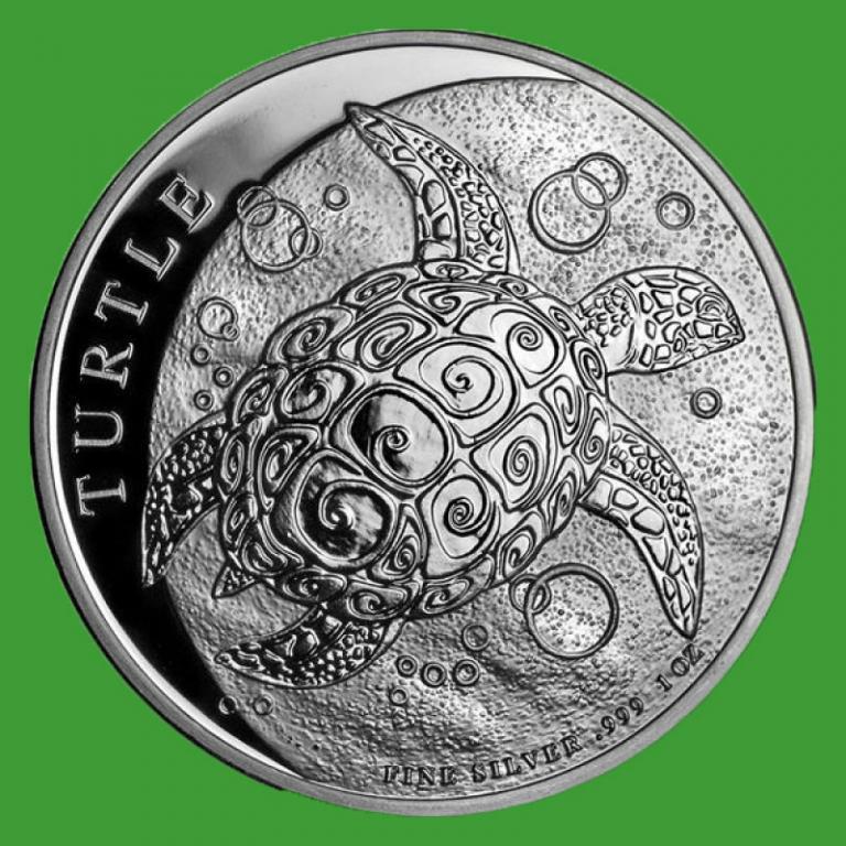 Ниуэ 2 доллара 2019 г. Фауна - черепаха (серебро 999 пробы , 1 унция)