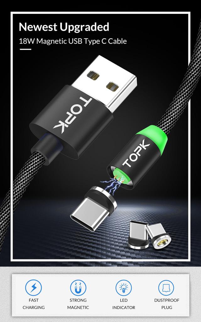 Магнитный кабель USB Type-C Topk для зарядки и передачи данных Черный 1м
