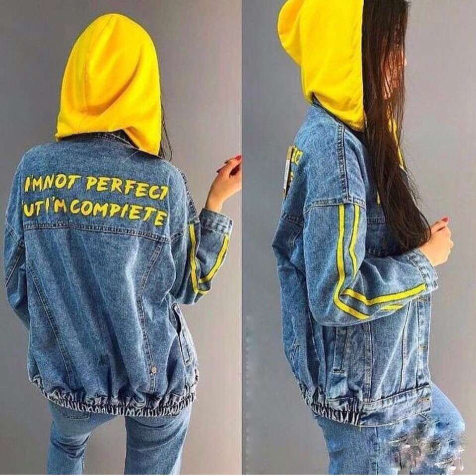 Куртка джинсовая с капюшоном женская