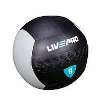 Мяч для кроcсфита LivePro WALL BALL 8 кг черный/серый LP8100-8