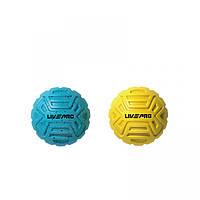 Набор мячиков для массажа 2 шт. LivePro Foot Massage Ball голубой/желтый  LP8507