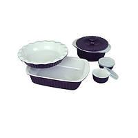 Набор керамической посуды Kamille для запекания 8 пр Фиолетовый с белым (KM-6106_P)