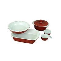 Набор керамической посуды Kamille для запекания Красный с белым (KM-6106_R)