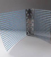 Уголок штукатурный алюминиевый перфорированный с сеткой 125 гр/м2 2.5 м 7х7см