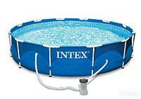 Каркасный бассейн с фильтр насосом intex 28212 (56996) metal frame pool (366x76 см) hn