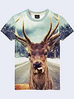Мужская футболка Олень на дороге