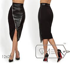 Эффектная молодёжная юбка с элементами эко кожи в деловом стиле S, M, L, фото 2