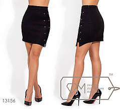 Модная молодёжная юбка-мини из замши  S, M, L, фото 2