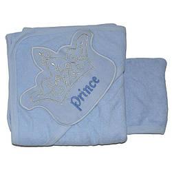 Полотенце с капюшоном для купания , махра, размер 90х80 см (мин заказ 1 ед) Голубой