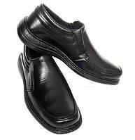 Туфли мужские черные прошитые без шнурков (код 245)