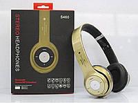 Беспроводные наушники S460 Bluetooth gold с MP3 плеером золотистые