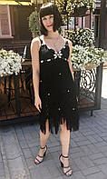 Платье A&B банкетное шелковое бахрома черное, фото 1