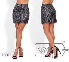 Модная молодёжная юбка-мини из эко кожы в принте лео   S, M, фото 3