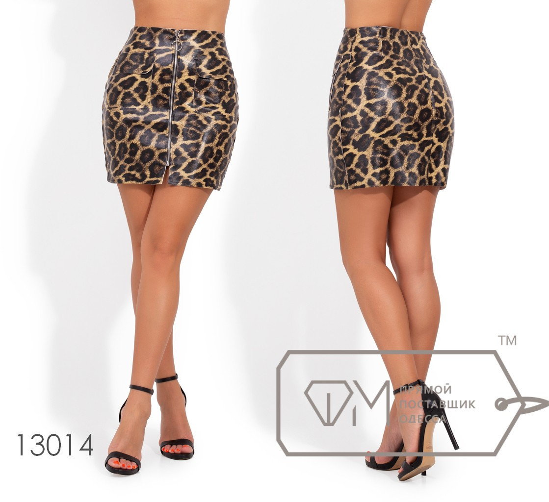 Модная молодёжная юбка-мини из эко кожы в принте лео   S, M
