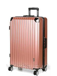 Великий пластиковий чемодан з полікарбонату Airtex 957 на засувках рожеве золото