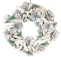 Декоративный  новогодний венок из шишками и звездами 23х23 см, набор  4 шт