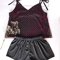 Пижама женская шелковая  черная в красный горох   (топ + шорты)