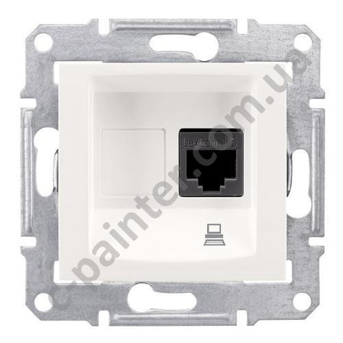 Розетка компьютерная RJ45 кат.6е UTP на 1 гнездо Schneider Electric Sedna Белый SDN4700121