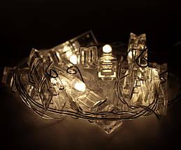 ✅Декоративная Светодиодная Гирлянда Прищепки Большие ЛЕД Белая Теплая На Батарейках 1,5м 10led Warm White, фото 2
