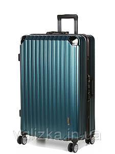 Великий пластиковий чемодан з полікарбонату Airtex 957 на засувках синій