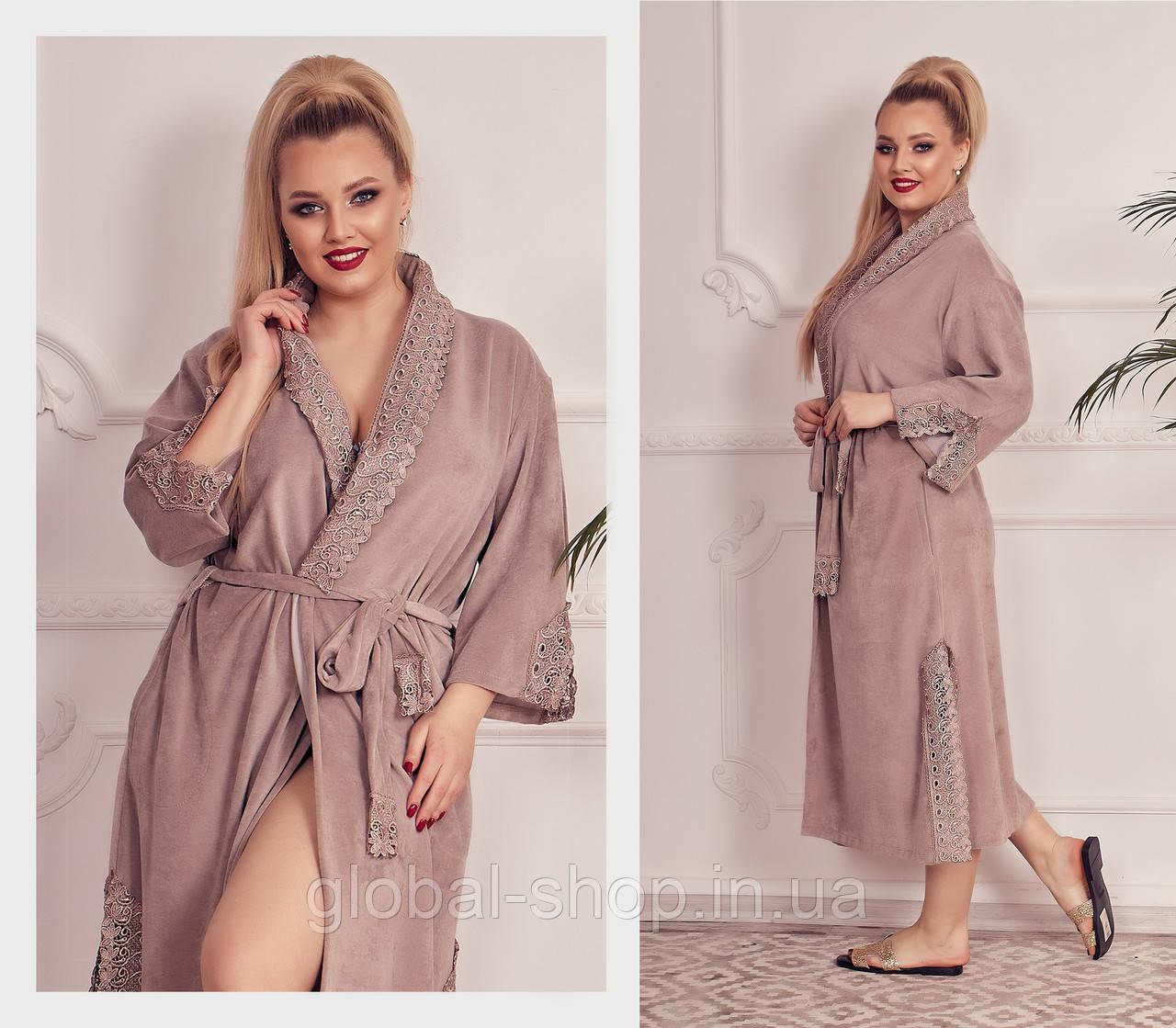 Женский велюровый халат , Цвета: пудра,бежевый,молочный,нежно розовый,  код 0182