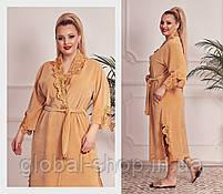 Женский велюровый халат , Цвета: пудра,бежевый,молочный,нежно розовый,  код 0182, фото 4