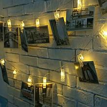 Декоративная Светодиодная Гирлянда Прищепки Большие ЛЕД Белая Теплая На Батарейках 3м 20led Warm White