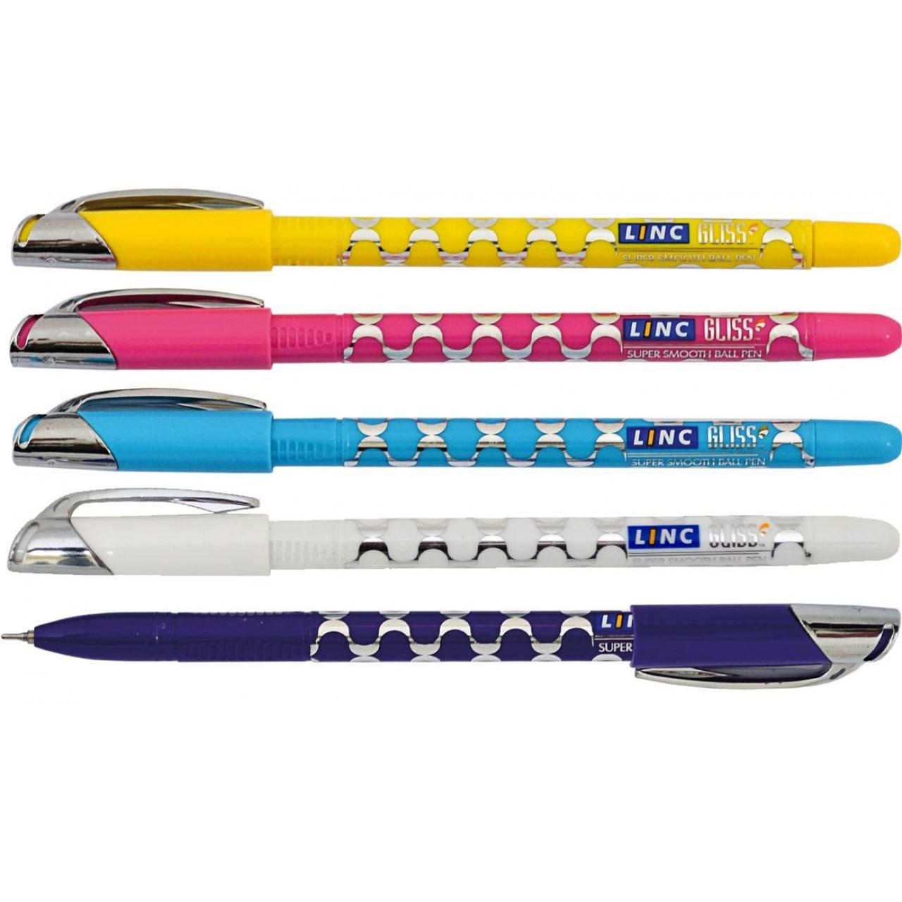 "Ручка  шариковая/масляная ""Gliss"" синяя 0,7 мм ""LINC"" (микс цветов корпуса)"