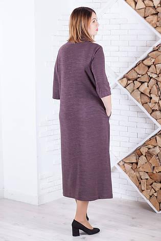 Плаття пряме вільне кольору какао для повних, фото 2