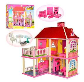 Домик для кукол 6980. 5 комнат 2 варианта сборки. Двухэтажный с верандой. С мебелью в комплекте