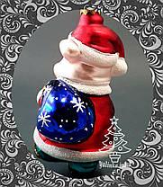 Скляна ялинкова іграшка Порося з мішком подарунків 70/до, фото 2
