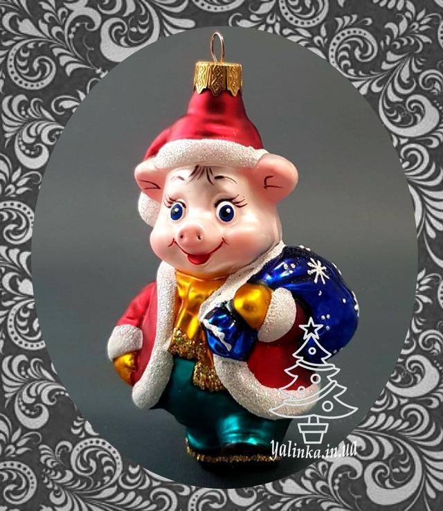 Колекційна іграшка на ялинку Порося з мішком подарунків