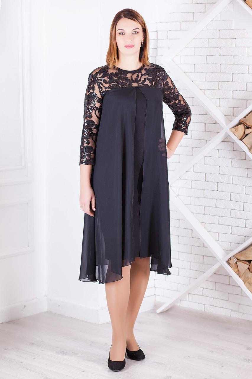 Шикарное вечернее платье с шифоном большие размеры