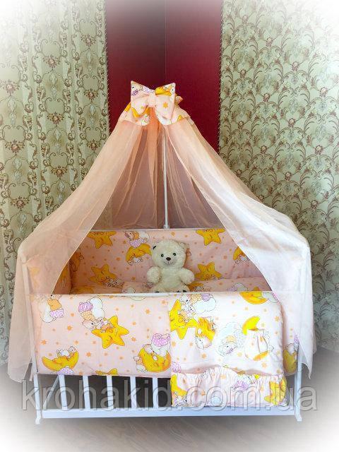 """Набір дитячої постільної білизни в ліжечко """"Зоряне небо"""" 9 предметів / Бортики в ліжечко / Захист в манеж"""