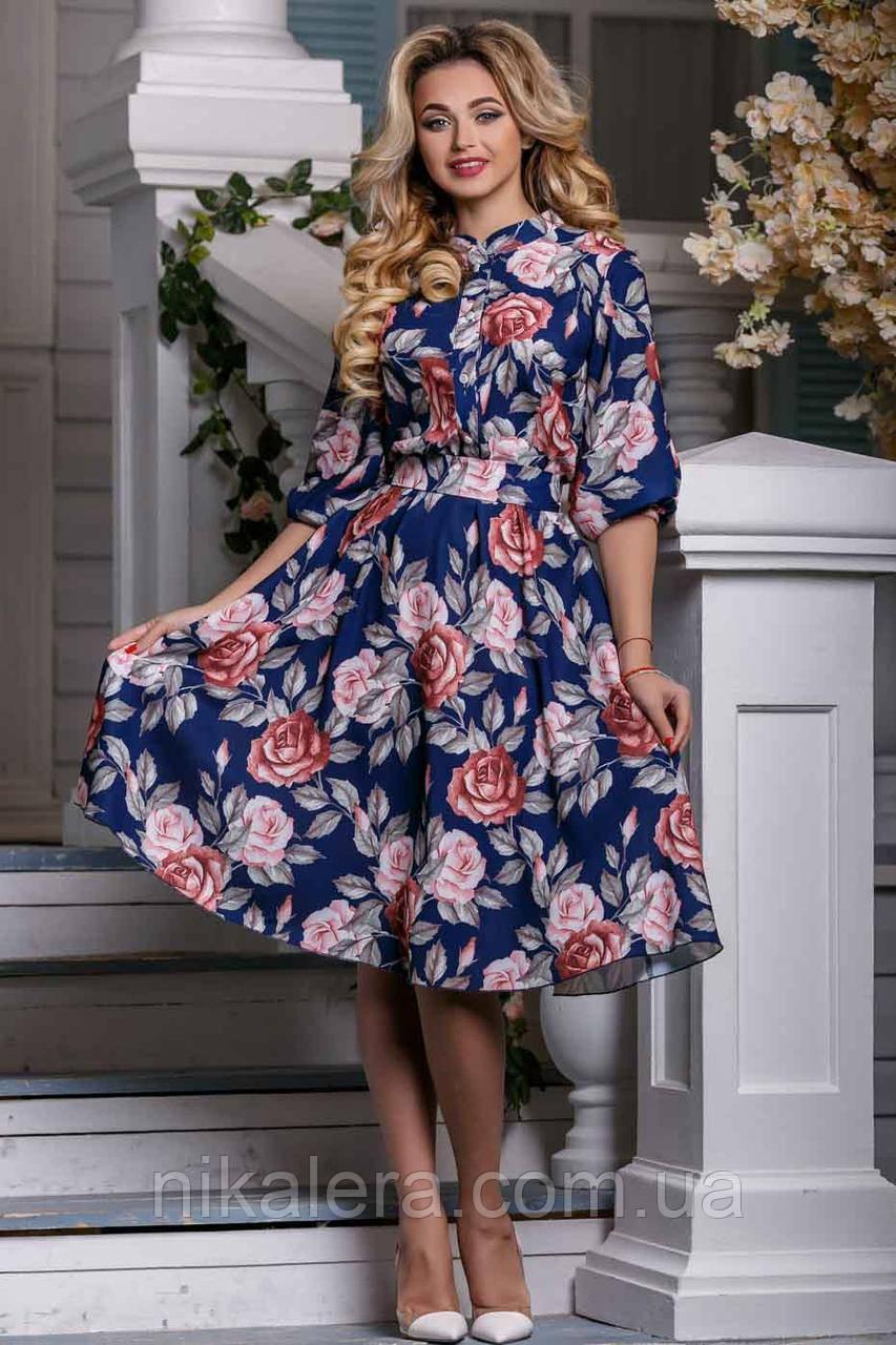 Женское платье с пышной юбкой и воротником стойка