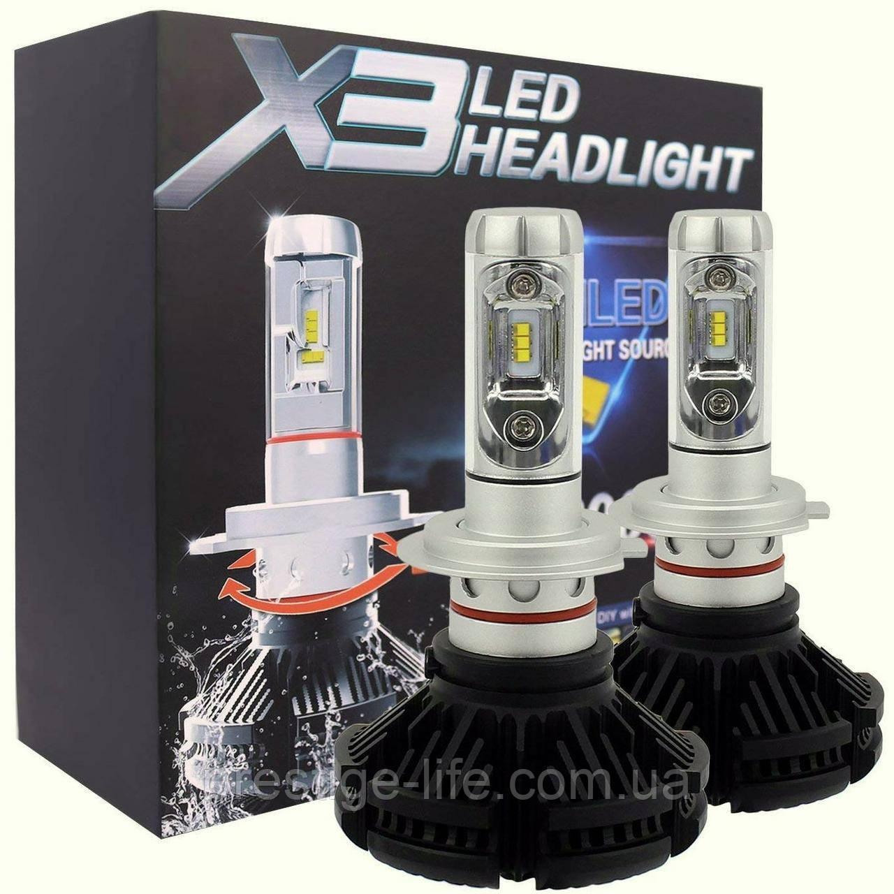 Лед лампы. LED лампы комплект X3 Н7 (ZES, 6000LM, 50W)