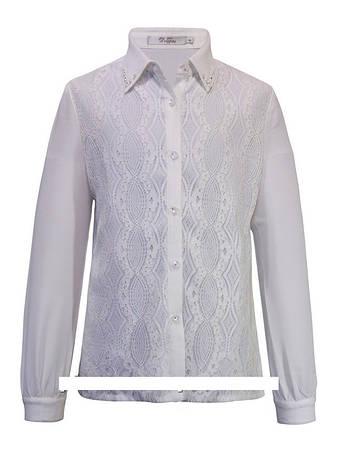 Детская школьная блуза для девочки с длинным рукавом от Deloras 61113 | 134-176р., фото 2