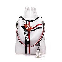 Модный женский белый рюкзак код 3-434