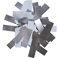 Конфетти-Метафан Серебряно-Белый Премиум 2х6 (фольгированный) 1кг, фото 1