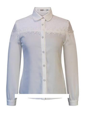 Детская школьная блуза для девочки с длинным рукавом от Deloras 61620 | 128-152р., фото 2