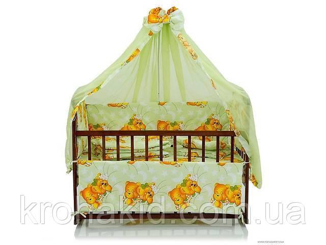 """Набір дитячої постільної білизни в ліжечко """"Ведмедики"""" 9 предметів / Бортики в ліжечко / Захист в манеж"""