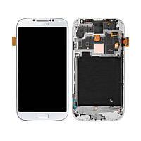 Дисплей (модуль) на Samsung i9500 + сенсор with frame белый copy