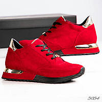 Красивые красные кроссовки натуральный замш Италия