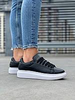 Стильные женские кроссовки Alexander McQueen (Александр Маквин) Black/White, фото 1